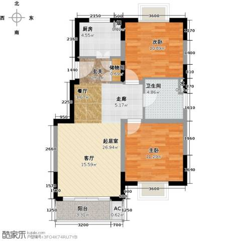 润・花园2室0厅1卫1厨81.00㎡户型图