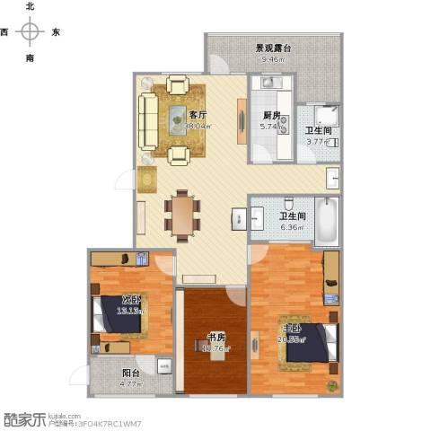 朗诗国际街区(跃层)3室1厅2卫1厨152.00㎡户型图
