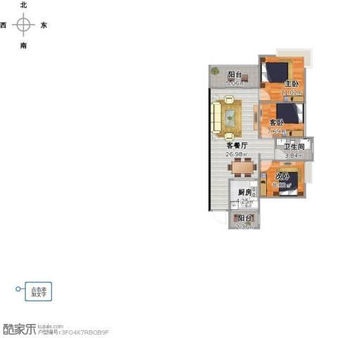 香樟1号3室1厅1卫1厨93.00㎡户型图