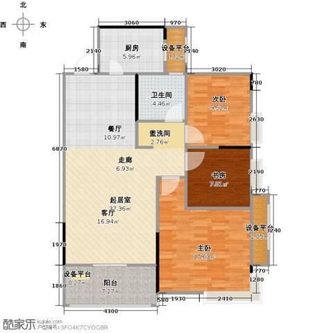 嘉豪公园世家3室0厅1卫1厨101.00㎡户型图