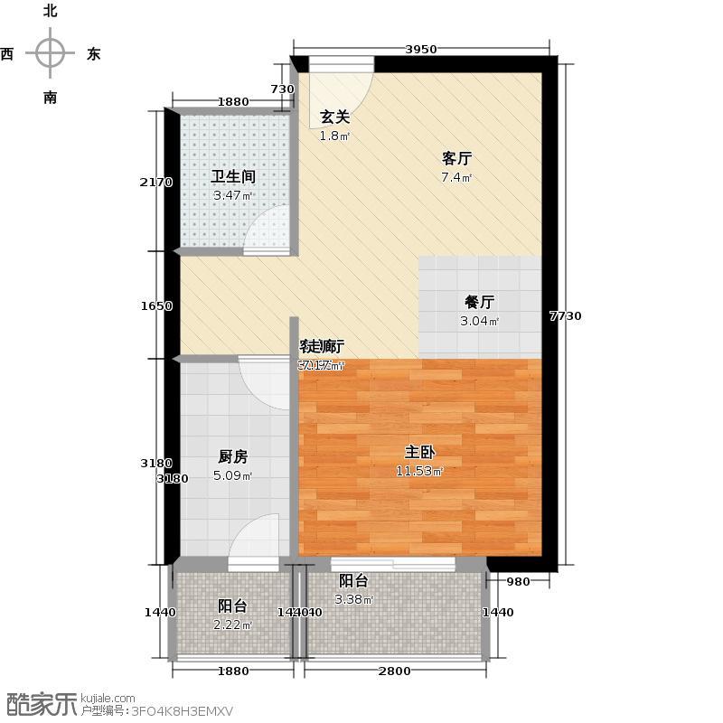 书香名邸50.41㎡三期11#甲S5一室一卫户型
