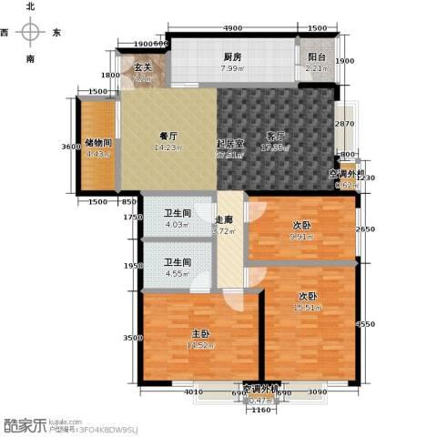 华凯花园3室0厅2卫1厨145.00㎡户型图