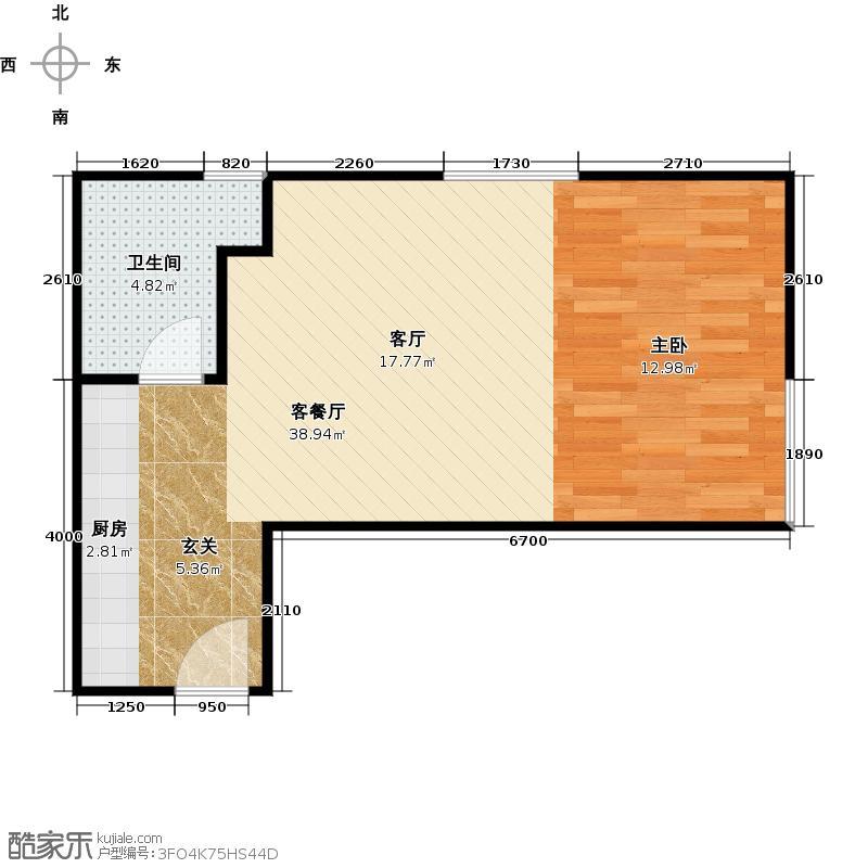三迪商业广场61.11㎡三迪商业广场精装公寓户型图户型1室1厅1卫