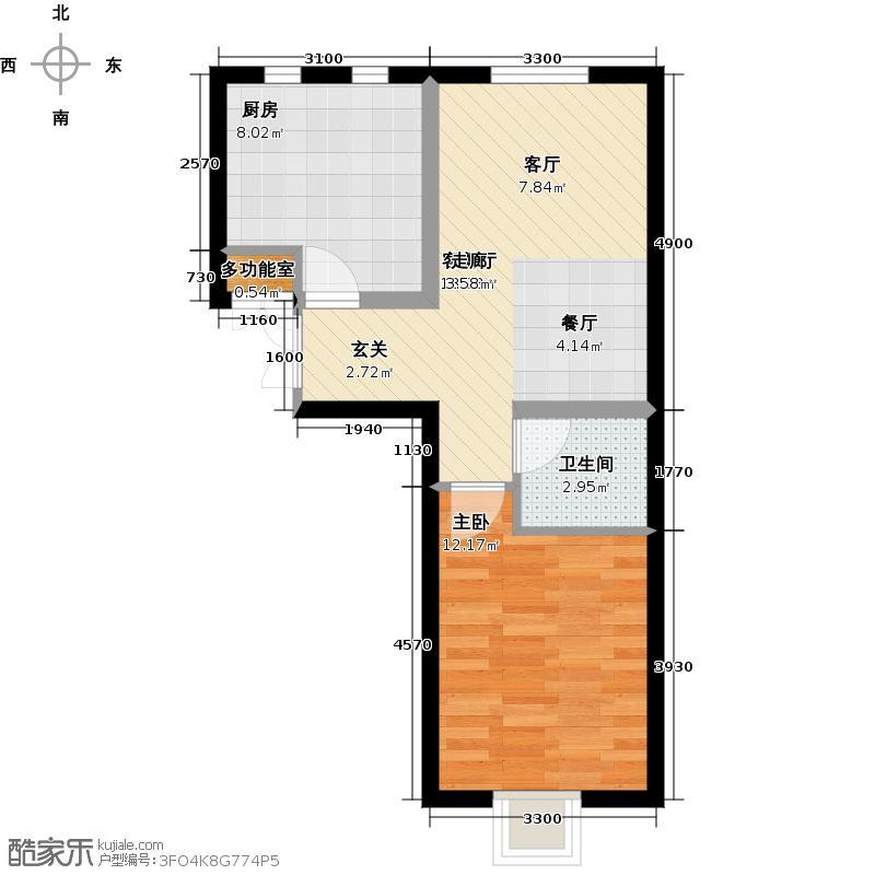 书香名邸4号楼一室两厅一卫户型