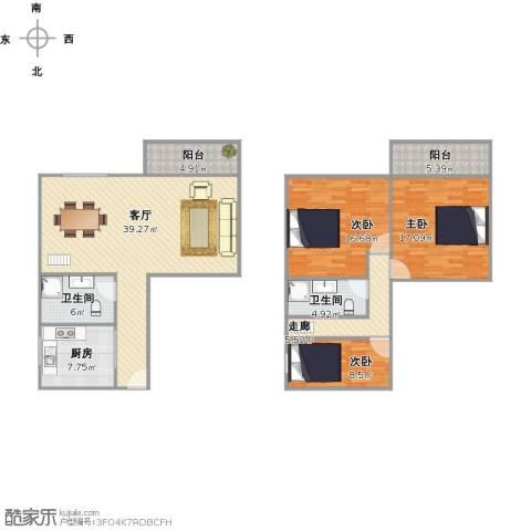 白鹭花园3室1厅2卫1厨156.00㎡户型图