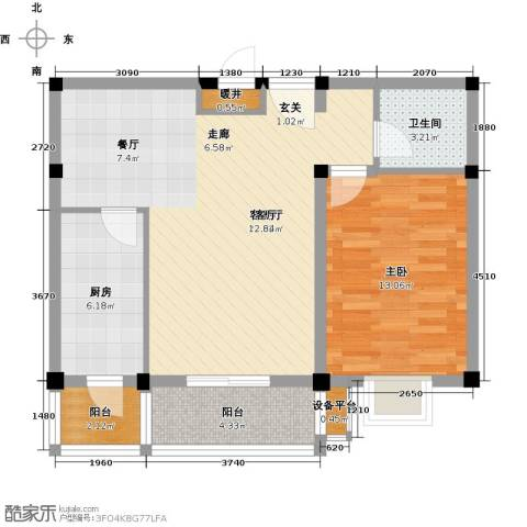 书香名邸1室1厅1卫1厨67.00㎡户型图