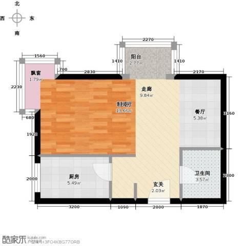 书香名邸1厅1卫1厨50.00㎡户型图