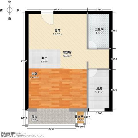 书香名邸1厅1卫1厨57.00㎡户型图