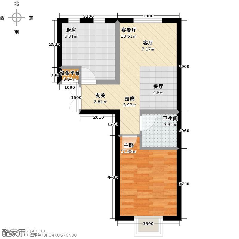 书香名邸C一室二厅一卫户型