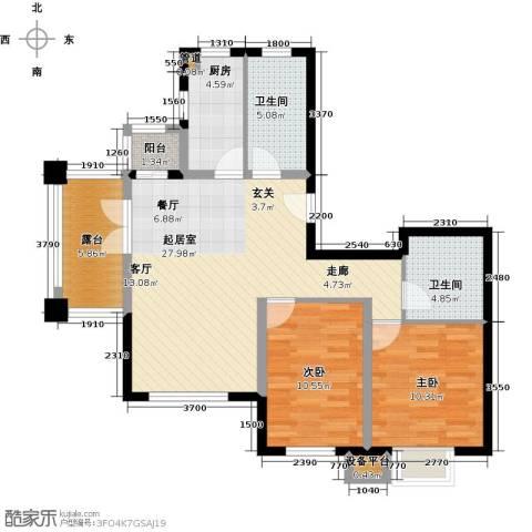 阳光新业国际2室0厅2卫1厨96.00㎡户型图