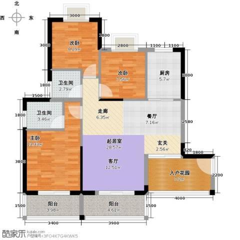 福隆花园3室0厅2卫1厨122.00㎡户型图