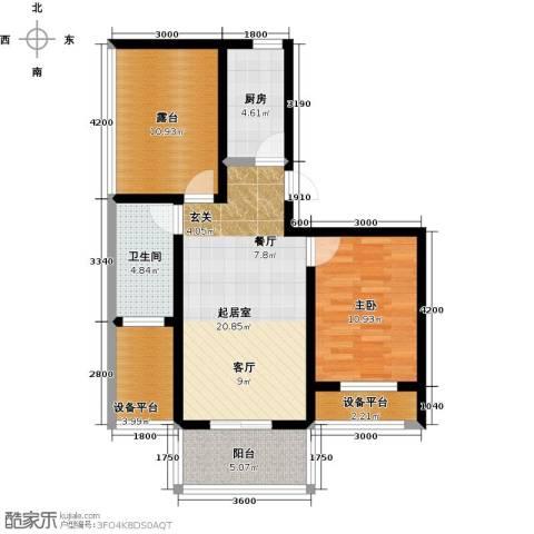 城铁边上的家1室0厅1卫1厨64.00㎡户型图
