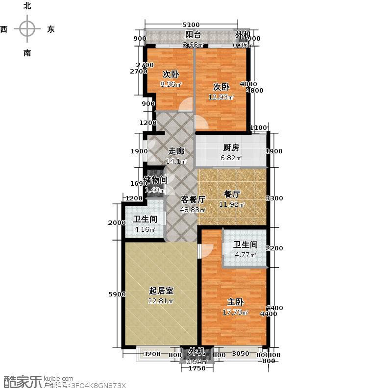 天创公馆136.54㎡B-4a户型三室二厅二卫户型