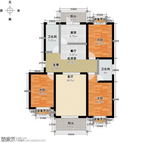 城铁边上的家3室1厅2卫1厨120.00㎡户型图