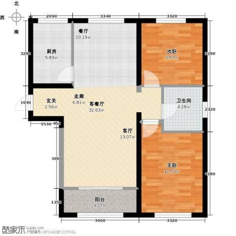 中冶蓝城2室1厅1卫1厨102.00㎡户型图