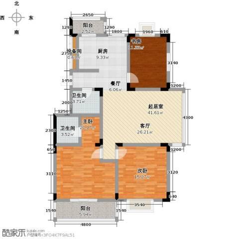 鑫瑞名苑3室0厅2卫0厨151.00㎡户型图