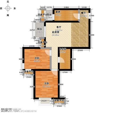 金唐国际公寓2室0厅1卫1厨87.00㎡户型图