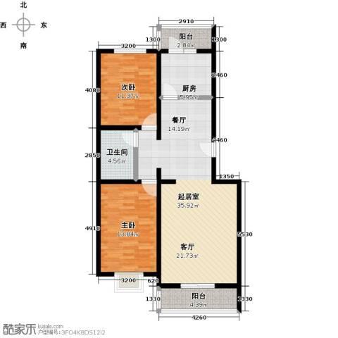 城铁边上的家2室0厅1卫1厨91.00㎡户型图