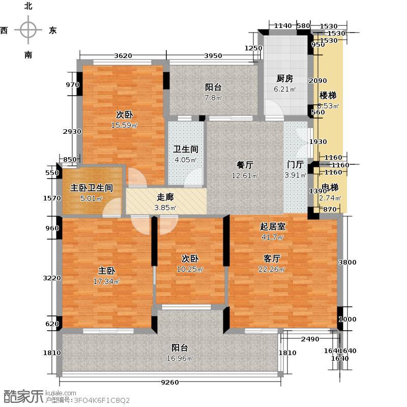 路劲隽悦豪庭D区20-23栋02单元4层户型3室1卫1厨
