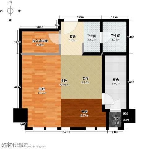 天津公馆1室0厅1卫1厨71.00㎡户型图