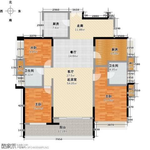 五洲花城二期3室0厅2卫2厨136.00㎡户型图