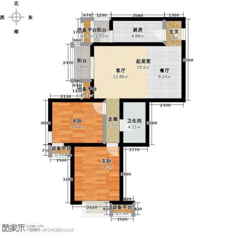 金唐国际公寓2室0厅1卫1厨86.00㎡户型图
