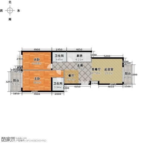 天创公馆2室1厅2卫1厨129.00㎡户型图