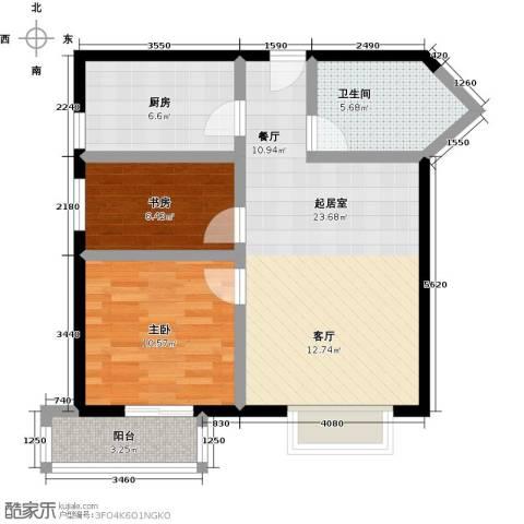 伊顿玫瑰公寓2室0厅1卫1厨82.00㎡户型图