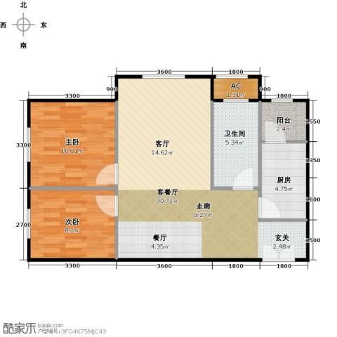 和泰馨和园2室1厅1卫1厨85.00㎡户型图