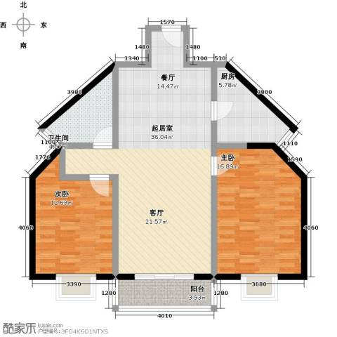 伊顿玫瑰公寓2室0厅1卫1厨114.00㎡户型图