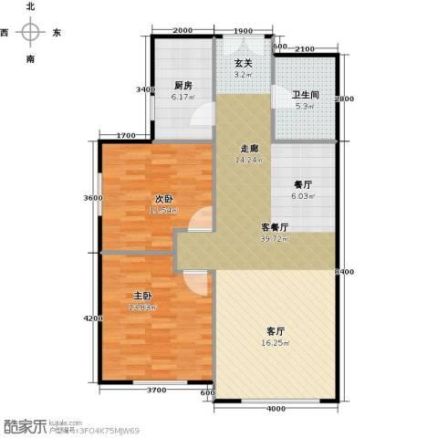 和泰馨和园2室1厅1卫1厨102.00㎡户型图