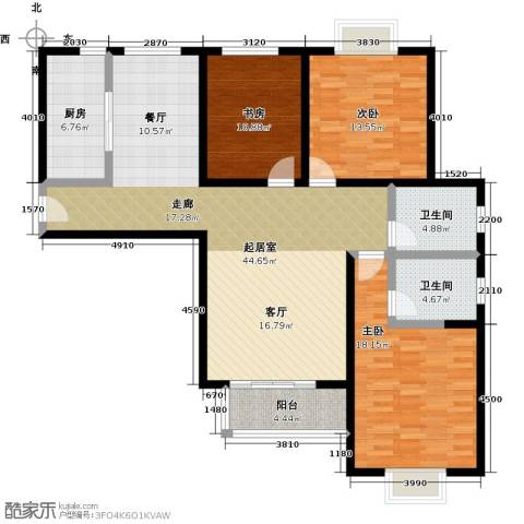 伊顿玫瑰公寓3室0厅2卫1厨155.00㎡户型图