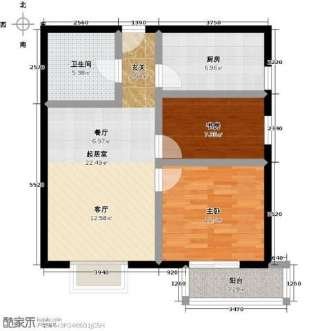 伊顿玫瑰公寓2室0厅1卫1厨83.00㎡户型图