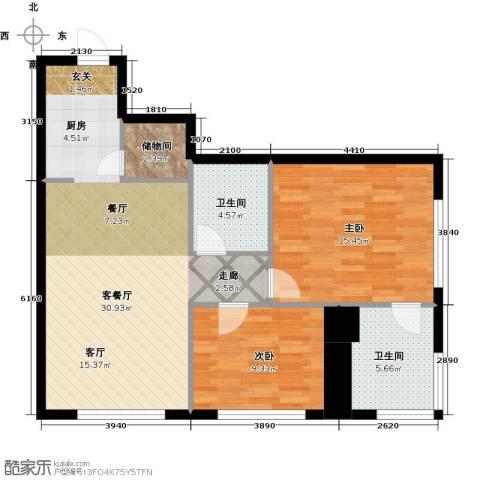 皇朝万鑫国际大厦2室1厅2卫0厨102.00㎡户型图