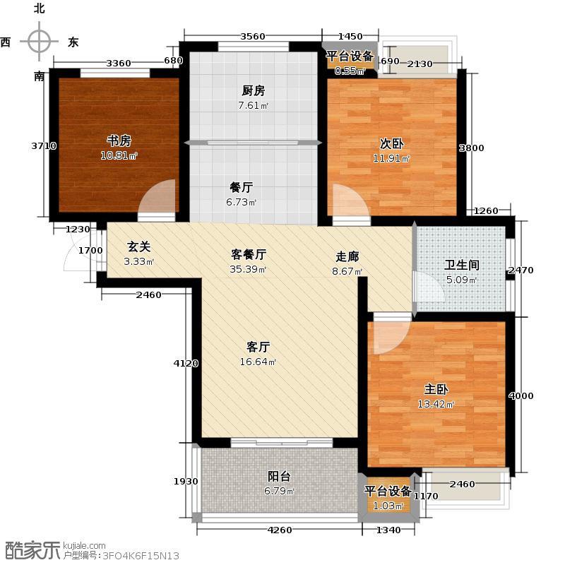 绿地国际花都106.00㎡5#C3-2户型 三室两厅一卫户型3室2厅1卫