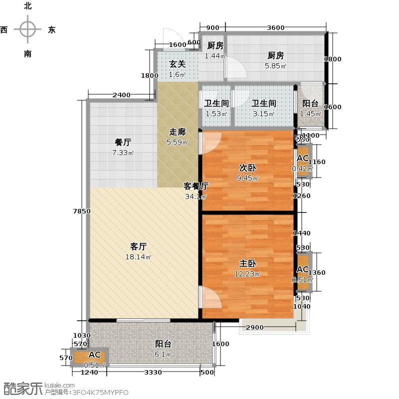 尚浦锦园户型2室1厅2卫1厨