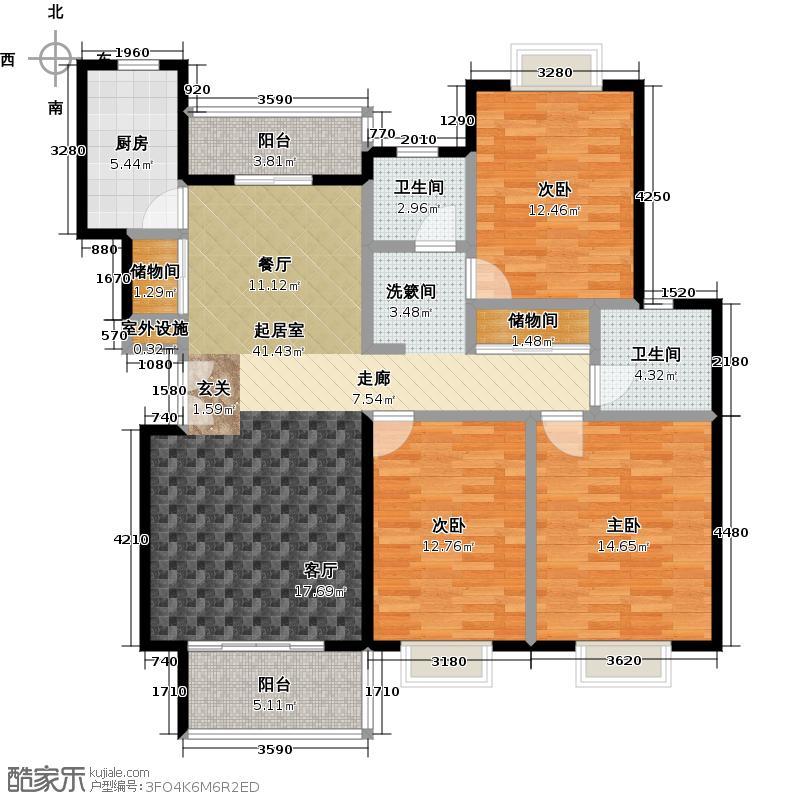 通田商住楼130.00㎡房型: 三房; 面积段: 130 -140 平方米;户型
