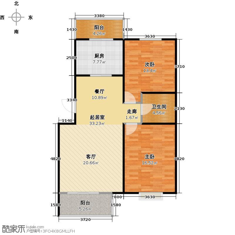 富锦嘉园五区6号楼F3--D-1户型-2室1厅1卫户型