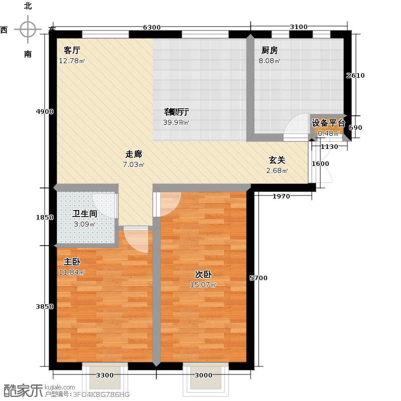 书香名邸4号楼两室两厅一卫户型