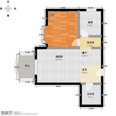 自然佳境1室0厅1卫1厨62.82㎡户型图
