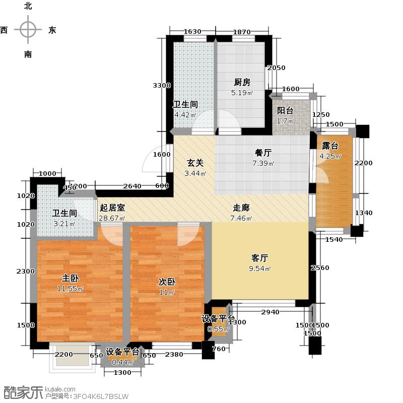 阳光新业国际D2反两室两厅两卫91平户型