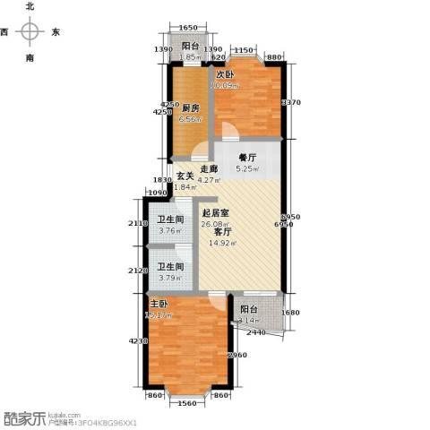 自然佳境2室0厅2卫1厨81.23㎡户型图