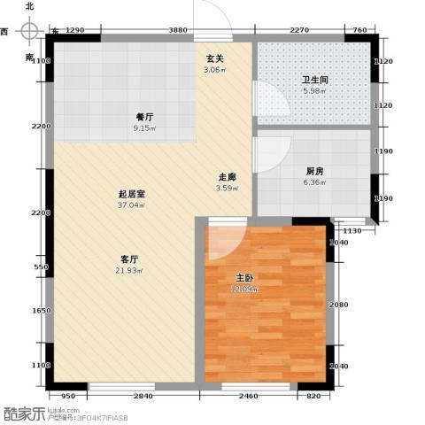 天富御苑1室0厅1卫1厨67.00㎡户型图
