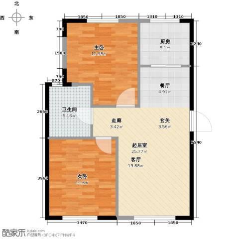 天富御苑2室0厅1卫1厨85.00㎡户型图