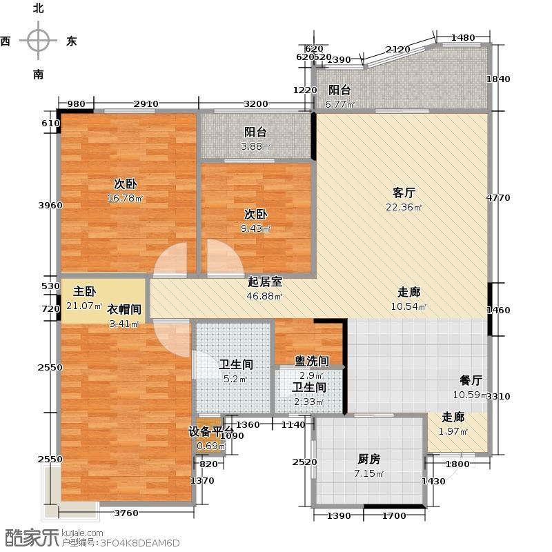 华江.乐天花亭128.78㎡三房二厅二卫-128.78平方米-56套户型