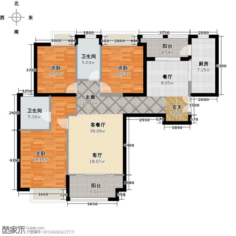 威尔夏大道142.58㎡8#楼b9户型图三居室户型