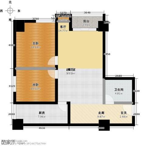 华夏世纪广场2室0厅1卫1厨90.00㎡户型图