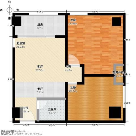 华夏世纪广场2室0厅1卫1厨110.00㎡户型图