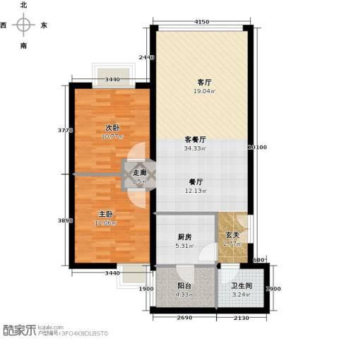 运河明珠家园2室1厅1卫1厨76.00㎡户型图