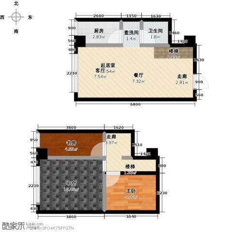 银河国际项目2室0厅1卫1厨49.89㎡户型图